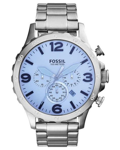 Fossil Chrono Stopwatch Silver Chain fossil s chronograph nate stainless steel bracelet 50mm jr1509 in silver for