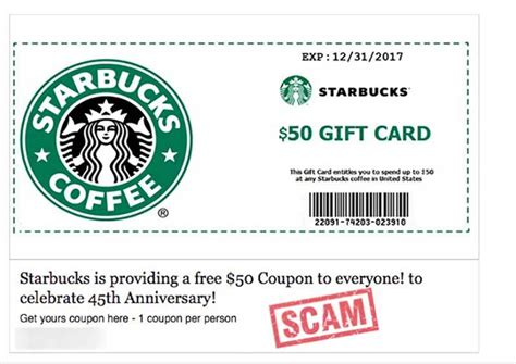 Free Starbucks Gift Card No Survey - starbucks free 50 coupon facebook scam hoax slayer