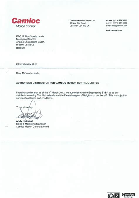 Confirmation Letter Distributor Anemo Is Authorised Distributor For Camloc Gas Springs Anemo Engineering Experts In