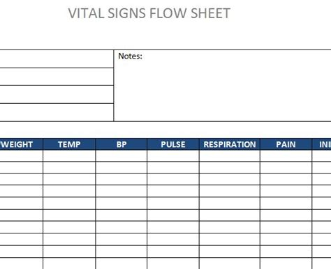 vital signs template vital sign flow sheet template pictures to pin on