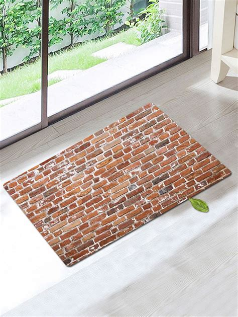 brown patterned bathroom rugs vintage skidproof coral fleece brick pattern bathroom rug