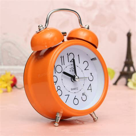 classic silent bell alarm clock concise quartz movement bedside light home decor at