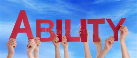 Character Building Letter Many Holding Word Ability Blue Sky Stock Photo Image 50300485