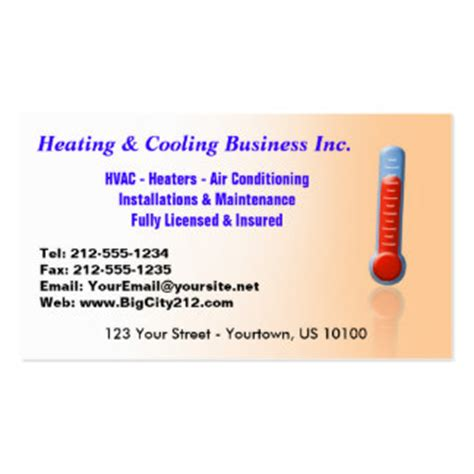 hvac business cards templates zazzle