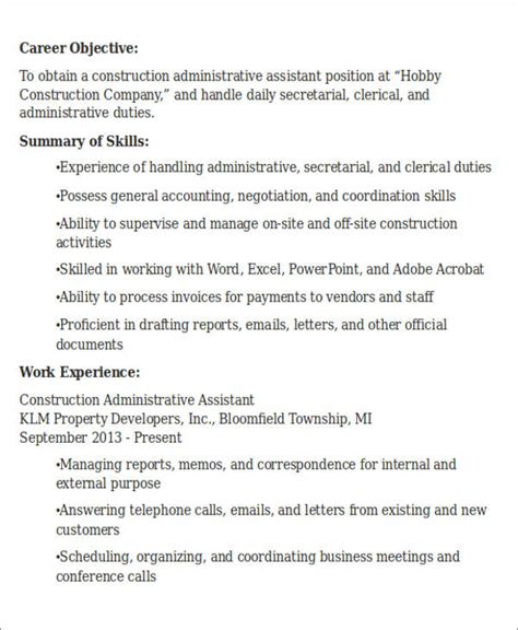 Administrative Assistant Objective For Resume by Administrative Assistant Resume Objective 6 Exles In