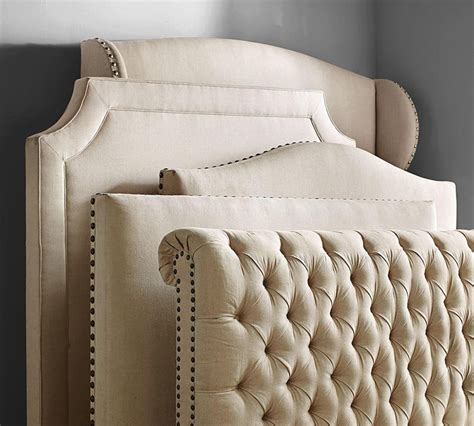 upholstered headboards and beds chesterfield upholstered bed headboard pottery barn