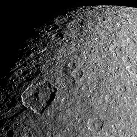 features of saturn cassini image shows surface features on rhea