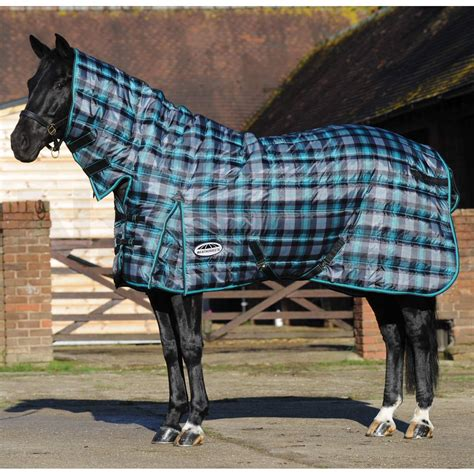 weatherbeeta combo stable rug weatherbeeta channel quilt 420d combo heavyweight stable rug black teal plaid naylors