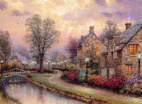 free wallpaper village free thomas kinkade wallpapers for desktop wallpaper cave