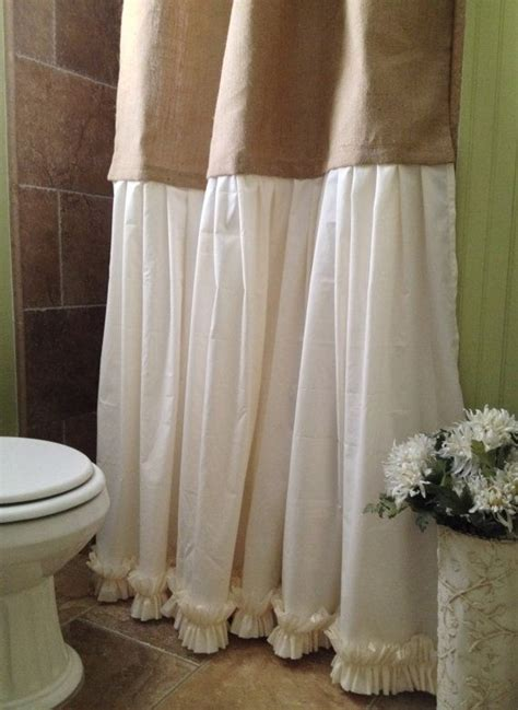 shabby chic bathroom curtains burlap shower curtain shabby chic burlap cotton gathered shower curtain on etsy 95 00