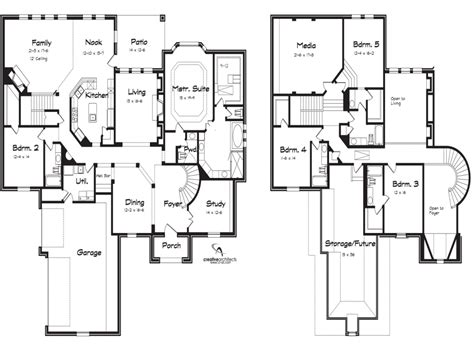 5 Bedroom 2 Story House Plans | 5 bedroom 2 story house plans loft bedrooms simple two