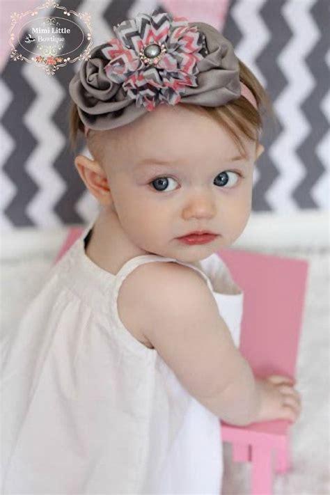 baby flower headband satin crown infant headband gray and pink chevron satin rosette flower headband baby
