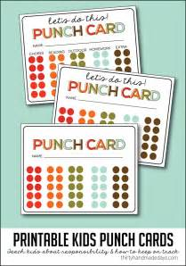 punch card template behavior punch cards images