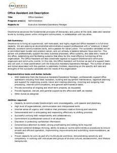 Assistant Description Resume by Resume Office Assistant Description