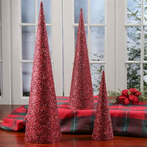 cone tree red bead and sequin cone trees table decor christmas