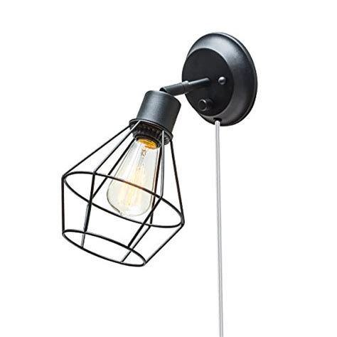globe electric 1 light matte globe electric 1 light in or hardwire industrial cage wall sconce matte black finish on