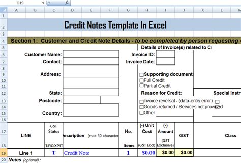 Credit Note Template In Excel Credit Notes Template In Ms Excel Format Exceltemple