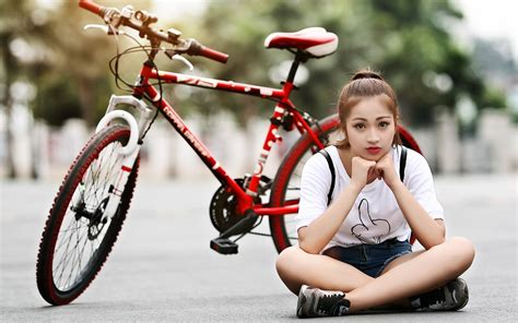 pretty girl with bicycle photo hd wallpaper   stylishhdwallpapers