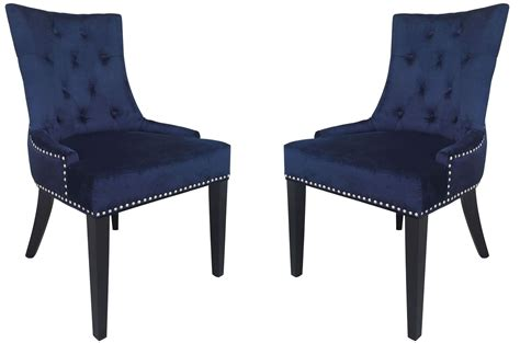 Velvet Dining Chair Uptown Navy Velvet Dining Chair Set Of 2 From Tov D30 Coleman Furniture