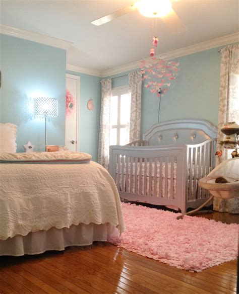 nursery in bedroom london s lovely aqua pink and grey nursery