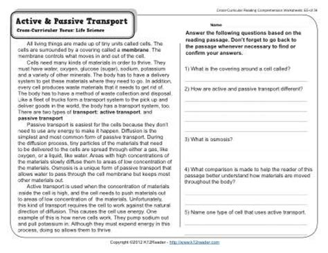 Active Reading Worksheets by Worksheets Active And Passive Transport Worksheet