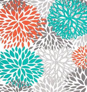 Orange And Teal Curtains Items Similar To Drapes Curtains Premier Prints Blooms Collection Orange Grey Teal And