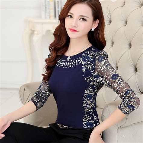 Sale Blouse High Quality new 2017 fashion high quality s plus size lace blouse shirts sleeve slim lace