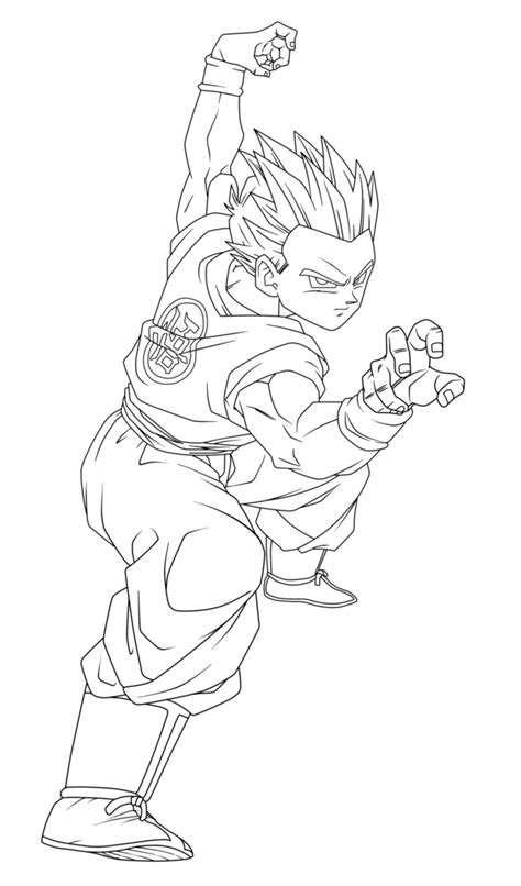gt goten pose lineart by arrancarippo on deviantart