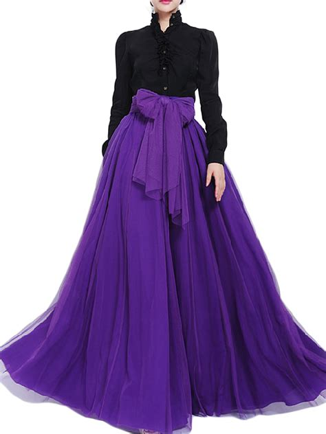 Pleated Maxi Mesh Skirt bow belt solid color mesh tulle pleated high waist