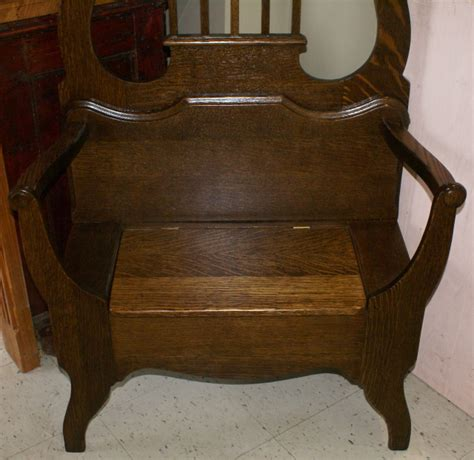 antique hall tree bench solid oak antique bench seat hall tree