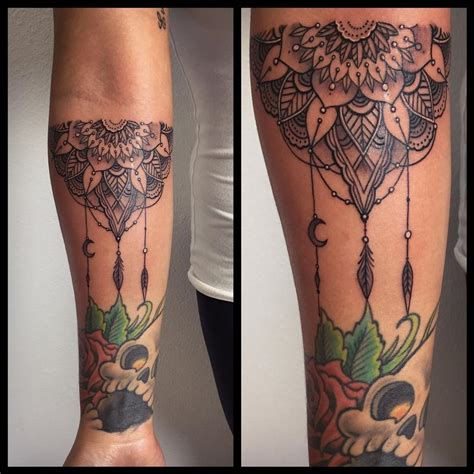 forearm half mandala by laura jade tattoos