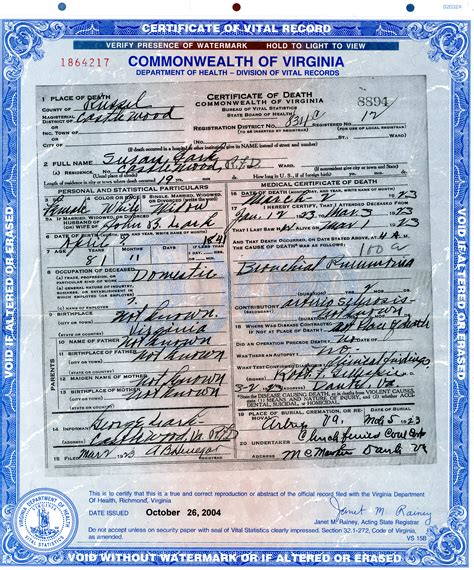 Va Records New Photograph Of Virginia Certificates Business Cards And Resume