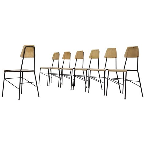 Black Metal Dining Room Chairs Set Of Seven Mid Century Dining Room Chairs In Black Metal Wire For Sale At 1stdibs