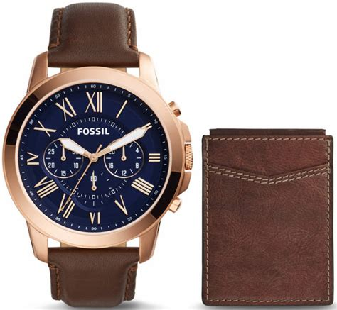 s fossil grant chronograph brown leather