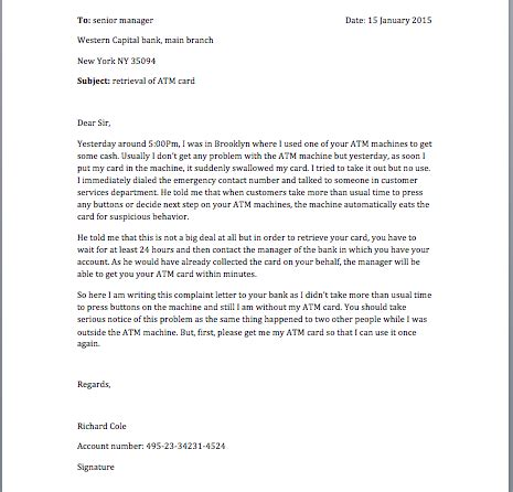 Letter To Bank Manager For Issuing Atm Card Ideas Of How To Write A Letter Bank Manager For Request