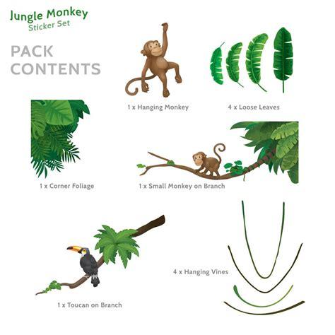 monkey wall stickers jungle monkey children s wall sticker set by oakdene