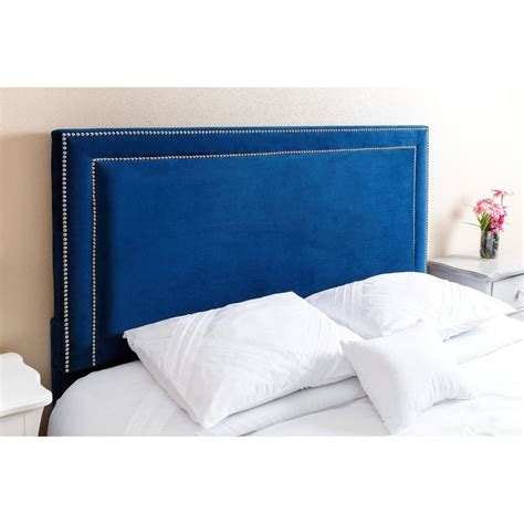 Blue Velvet Headboard Abbyson Tamey Nail Trim Navy Blue Velvet Headboard By Abbyson Nail
