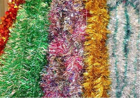 foil tinsel garland christmas hanging decoration in