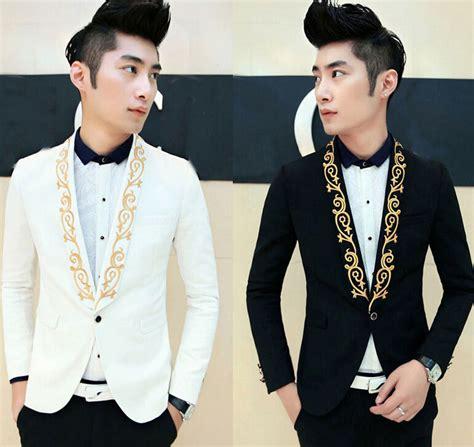 Jaket Blazer Jaket Casual Korean Style Sk 42 new luxury fashion mens embroidery korean slim fit blazers jacket 1 button suits ebay