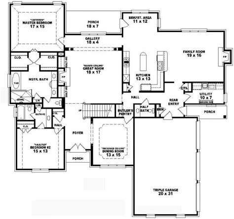 653736 two story 4 bedroom 3 5 bath french traditional style house plan house plans floor