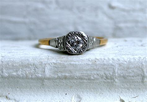 simple vintage engagement ring yellow white gold onewed