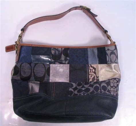 Coach Patchwork Purses - authentic coach denim patchwork shoulder bag purse 10003