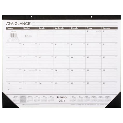 the office desk calendar at a glance monthly desk pad calendar 2016