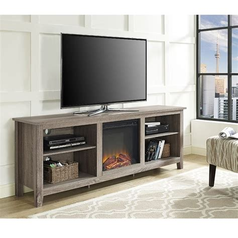 70 quot fireplace tv stand in driftwood w70fp18ag
