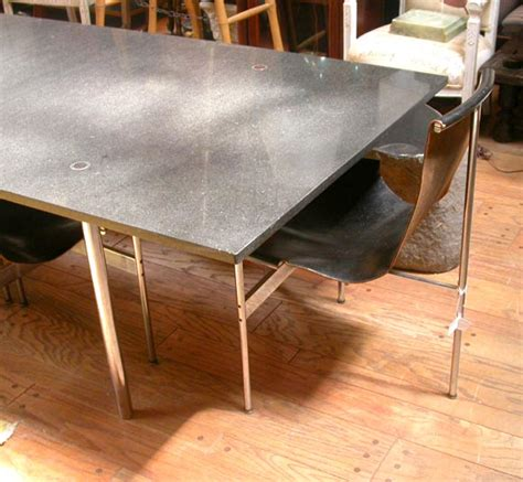 Black Leather Chairs And Dining Table by Craig Ellwood Dining Table With A Set Of 8 Black Leather