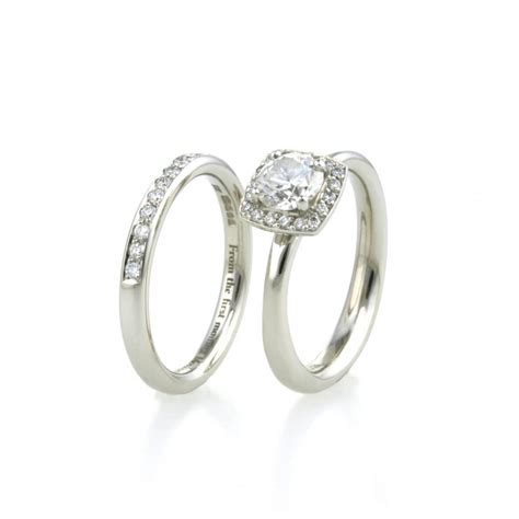 platinum halo engagement wedding rings aimee