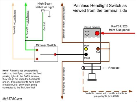 headlight dimmer switch wiring diagram painless headlight