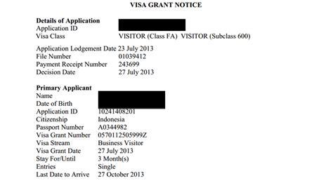 Visa Grant Letter Just Ibn Mudahnya Mengurus Visa Ke Aussie Subclass 600 Bussiness Visit