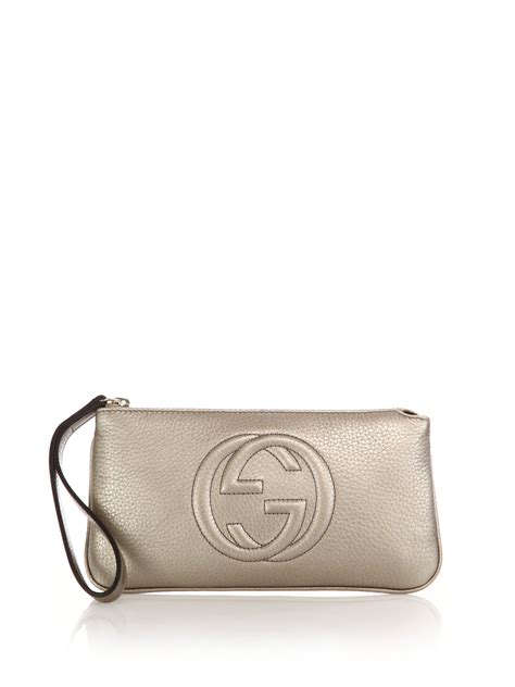 Gucci 8634 Gld For 2 gucci soho metallic wristlet in metallic lyst