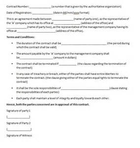 management contract template contract agreements